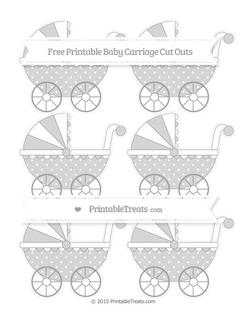 Free Pastel Grey Star Pattern Small Baby Carriage Cut Outs