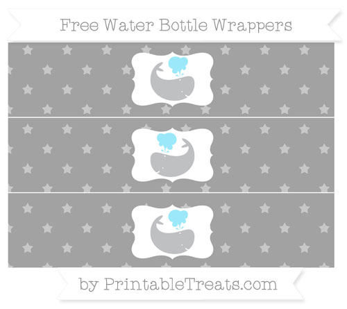 Free Pastel Grey Star Pattern Whale Water Bottle Wrappers