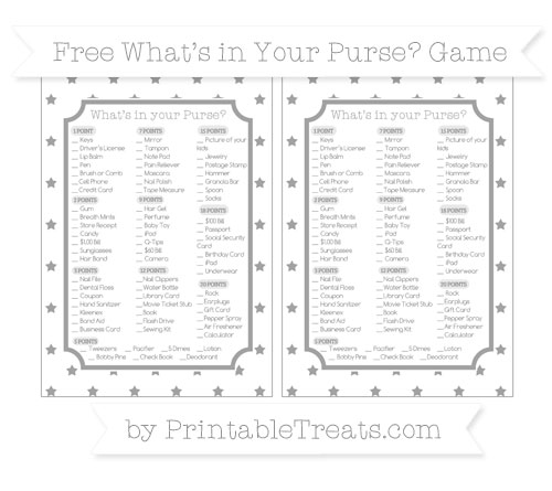 Free Pastel Grey Star Pattern What's in Your Purse Baby Shower Game