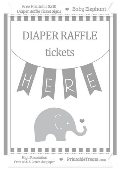 Free Pastel Grey Striped Baby Elephant 8x10 Diaper Raffle Ticket Sign
