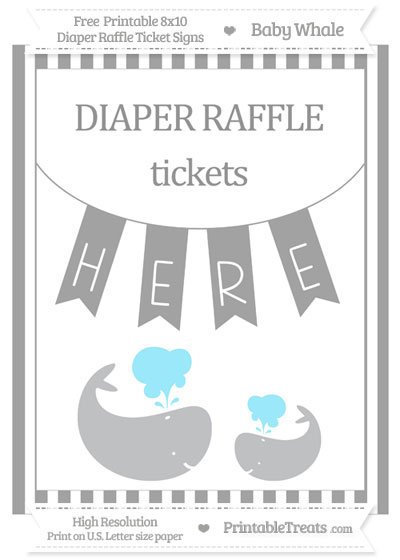 Free Pastel Grey Striped Baby Whale 8x10 Diaper Raffle Ticket Sign