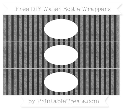 Free Pastel Grey Striped Chalk Style DIY Water Bottle Wrappers