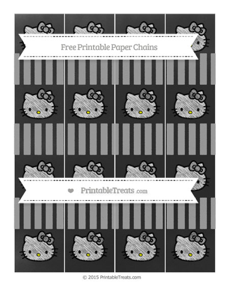 Free Pastel Grey Striped Chalk Style Hello Kitty Paper Chains