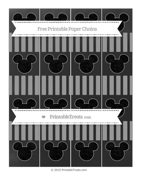 Free Pastel Grey Striped Chalk Style Mickey Mouse Paper Chains