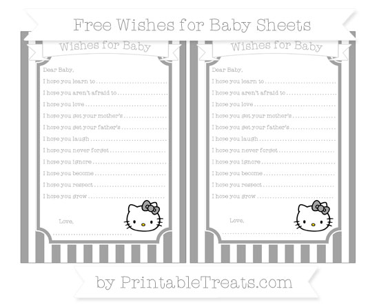 Free Pastel Grey Striped Hello Kitty Wishes for Baby Sheets