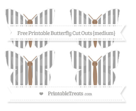 Free Pastel Grey Striped Medium Butterfly Cut Outs
