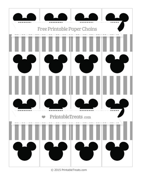 Free Pastel Grey Striped Mickey Mouse Paper Chains