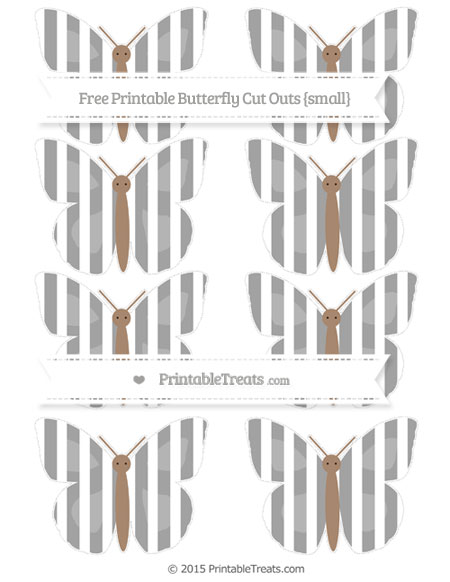Free Pastel Grey Striped Small Butterfly Cut Outs
