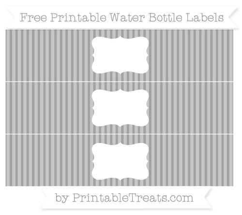 Free Pastel Grey Thin Striped Pattern Water Bottle Labels
