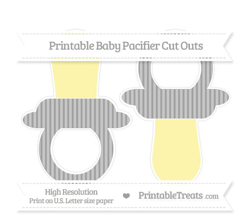 Free Pastel Grey Thin Striped Pattern Large Baby Pacifier Cut Outs