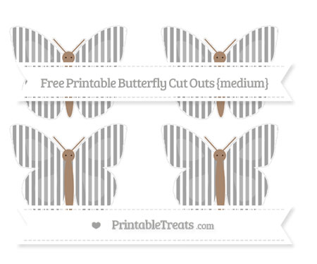 Free Pastel Grey Thin Striped Pattern Medium Butterfly Cut Outs