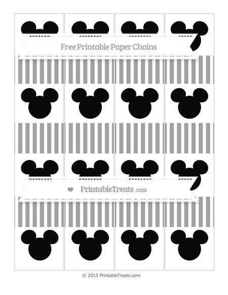 Free Pastel Grey Thin Striped Pattern Mickey Mouse Paper Chains