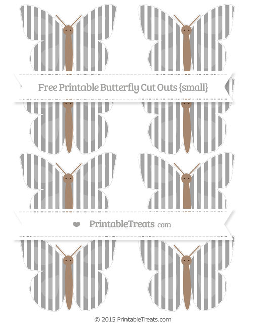 Free Pastel Grey Thin Striped Pattern Small Butterfly Cut Outs