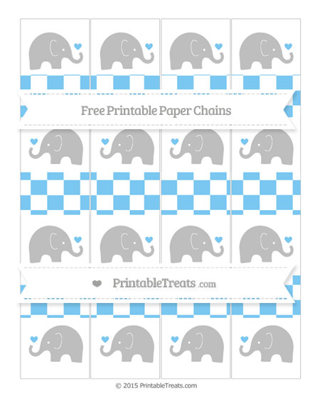 Free Pastel Light Blue Checker Pattern Baby Elephant Paper Chains