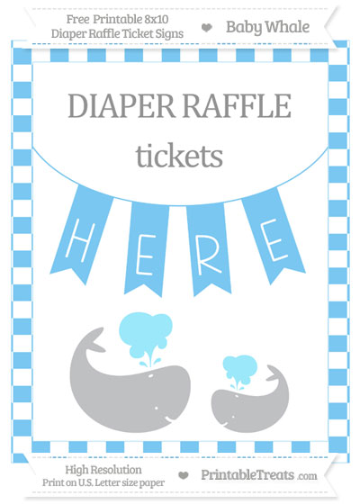 Free Pastel Light Blue Checker Pattern Baby Whale 8x10 Diaper Raffle Ticket Sign