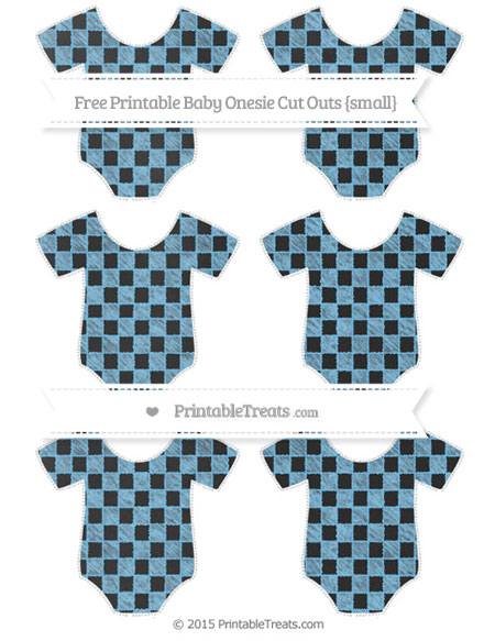 Free Pastel Light Blue Checker Pattern Chalk Style Small Baby Onesie Cut Outs