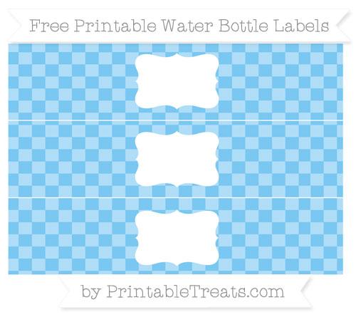 Free Pastel Light Blue Checker Pattern Water Bottle Labels