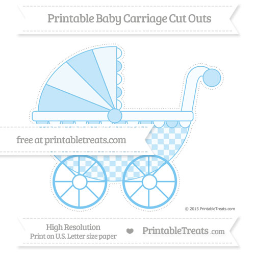 Free Pastel Light Blue Checker Pattern Extra Large Baby Carriage Cut Outs