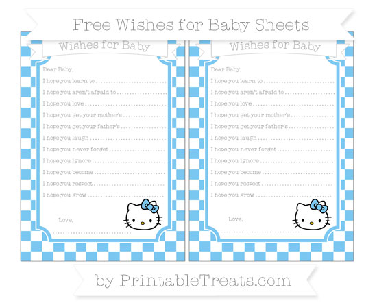 Free Pastel Light Blue Checker Pattern Hello Kitty Wishes for Baby Sheets