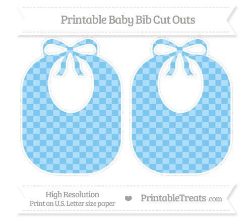 Free Pastel Light Blue Checker Pattern Large Baby Bib Cut Outs