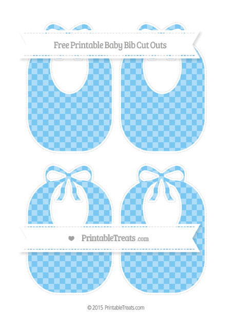 Free Pastel Light Blue Checker Pattern Medium Baby Bib Cut Outs