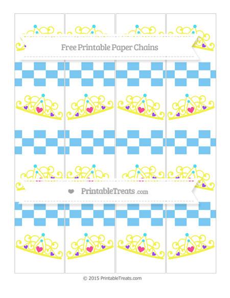 Free Pastel Light Blue Checker Pattern Princess Tiara Paper Chains