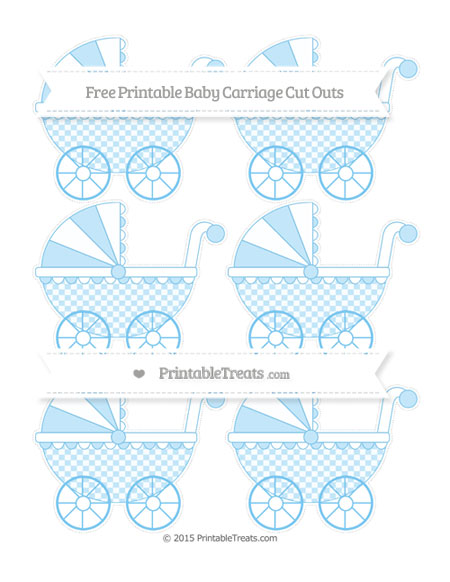 Free Pastel Light Blue Checker Pattern Small Baby Carriage Cut Outs