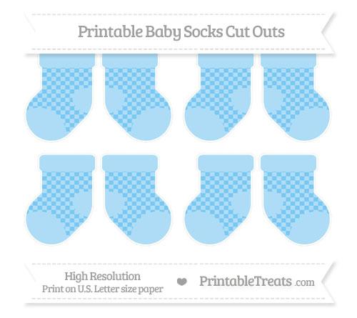 Free Pastel Light Blue Checker Pattern Small Baby Socks Cut Outs