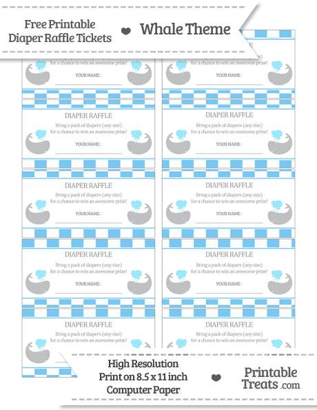 Free Pastel Light Blue Checker Pattern Whale Diaper Raffle Tickets