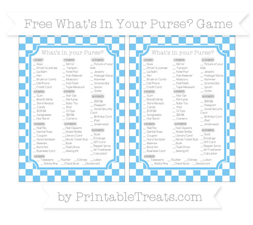 Free Pastel Light Blue Checker Pattern What's in Your Purse Baby Shower Game
