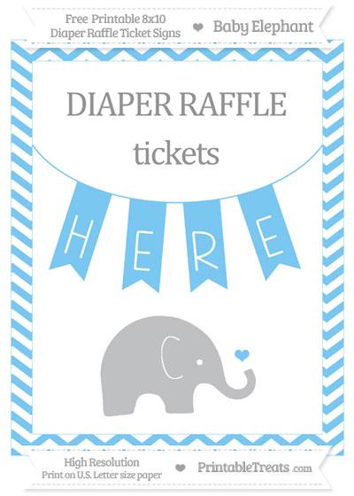 Free Pastel Light Blue Chevron Baby Elephant 8x10 Diaper Raffle Ticket Sign