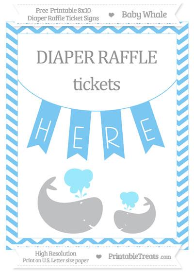 Free Pastel Light Blue Chevron Baby Whale 8x10 Diaper Raffle Ticket Sign