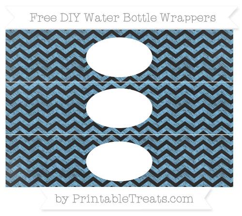 Free Pastel Light Blue Chevron Chalk Style DIY Water Bottle Wrappers