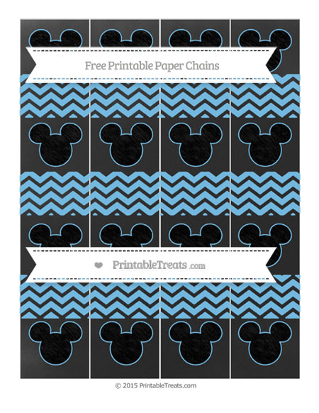 Free Pastel Light Blue Chevron Chalk Style Mickey Mouse Paper Chains