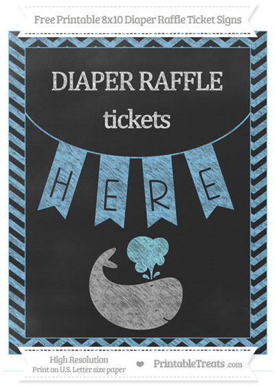 Free Pastel Light Blue Chevron Chalk Style Whale 8x10 Diaper Raffle Ticket Sign