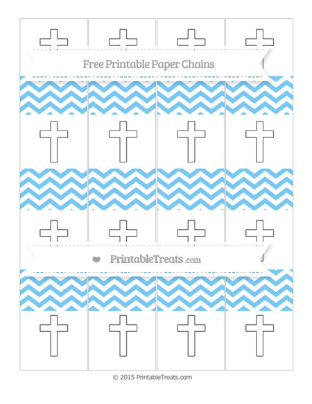 Free Pastel Light Blue Chevron Cross Paper Chains