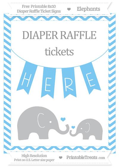 Free Pastel Light Blue Chevron Elephant 8x10 Diaper Raffle Ticket Sign