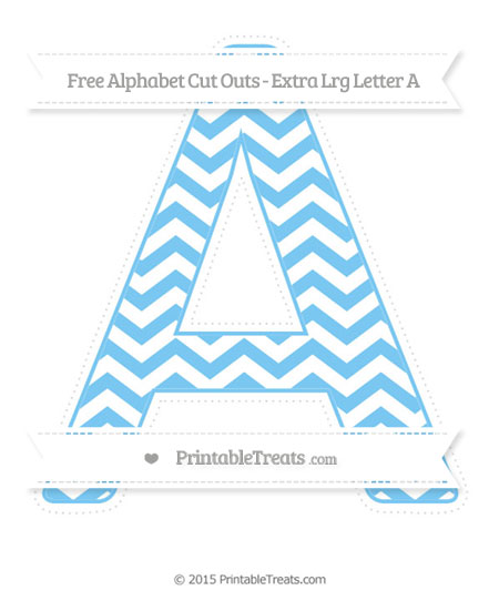 Free Pastel Light Blue Chevron Extra Large Capital Letter A Cut Outs