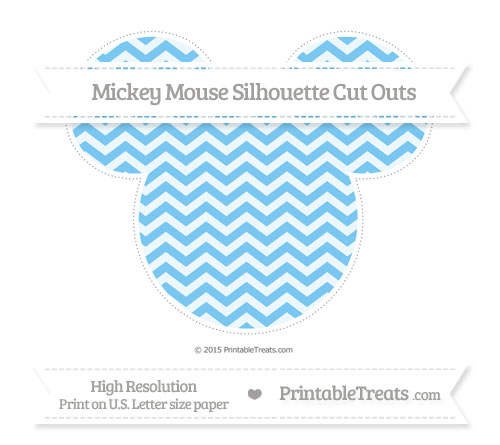 Free Pastel Light Blue Chevron Extra Large Mickey Mouse Silhouette Cut Outs