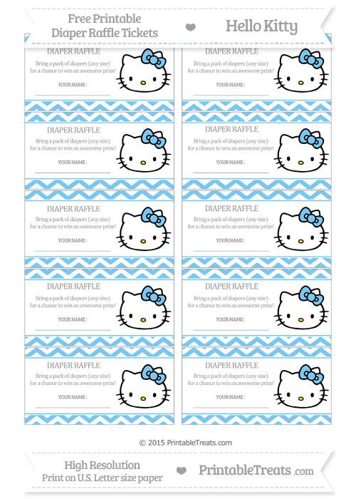 Free Pastel Light Blue Chevron Hello Kitty Diaper Raffle Tickets