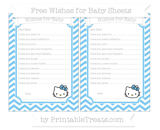 Free Pastel Light Blue Chevron Hello Kitty Wishes for Baby Sheets