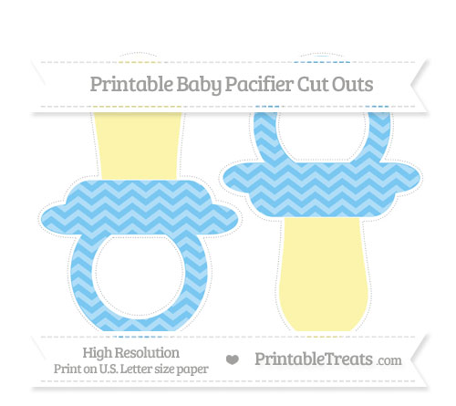 Free Pastel Light Blue Chevron Large Baby Pacifier Cut Outs