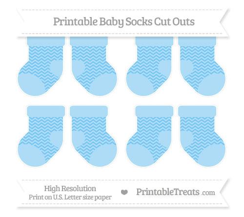 Free Pastel Light Blue Chevron Small Baby Socks Cut Outs