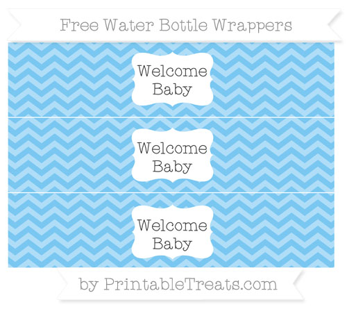 Free Pastel Light Blue Chevron Welcome Baby Water Bottle Wrappers