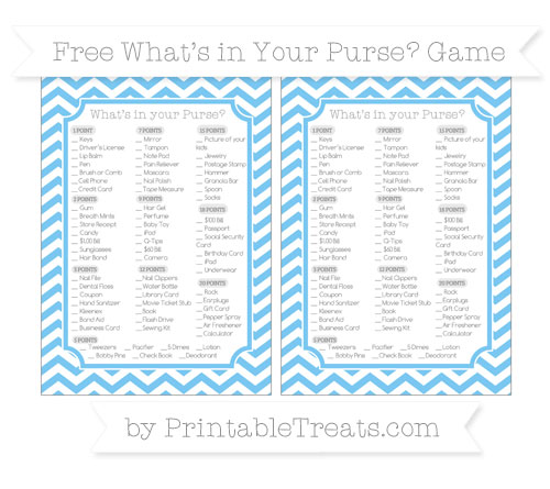 Free Pastel Light Blue Chevron What's in Your Purse Baby Shower Game