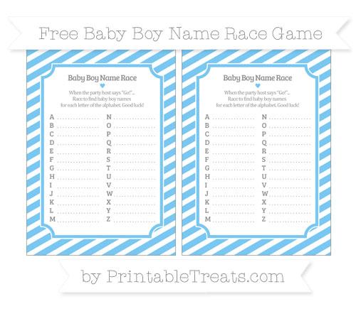 Free Pastel Light Blue Diagonal Striped Baby Boy Name Race Game
