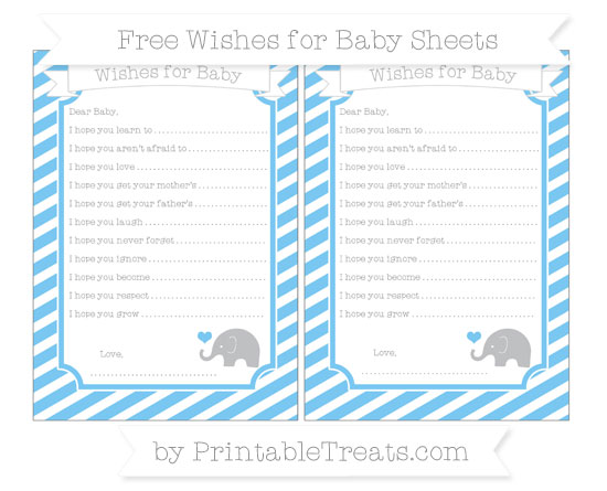 Free Pastel Light Blue Diagonal Striped Baby Elephant Wishes for Baby Sheets