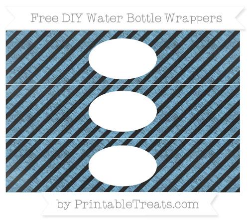 Free Pastel Light Blue Diagonal Striped Chalk Style DIY Water Bottle Wrappers