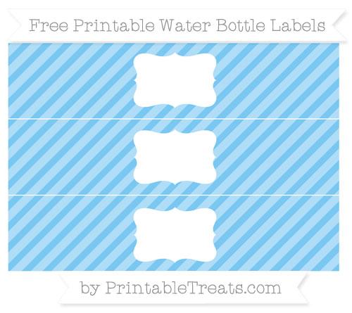 Free Pastel Light Blue Diagonal Striped Water Bottle Labels
