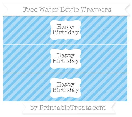 Free Pastel Light Blue Diagonal Striped Happy Birhtday Water Bottle Wrappers